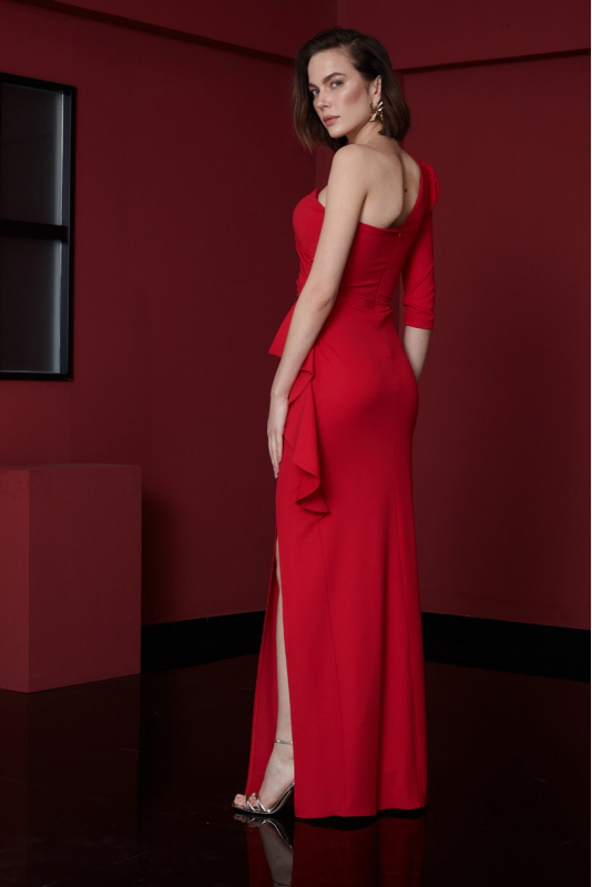 Red crepe maxi dress