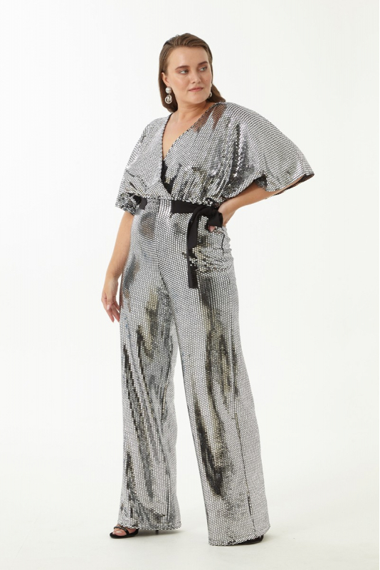 Mirrored silver plus size sequined long sleeve maxi overall