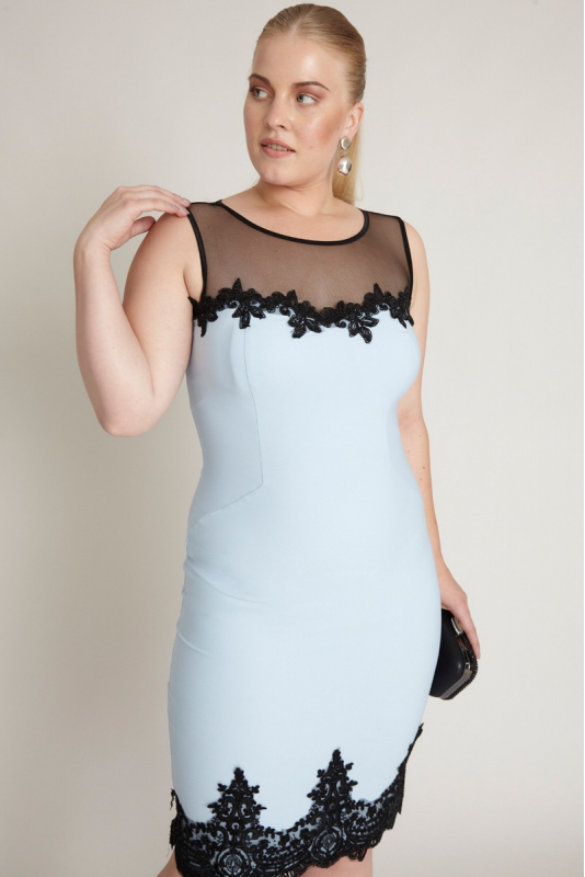 Blue plus size crepe sleeveless mini dress