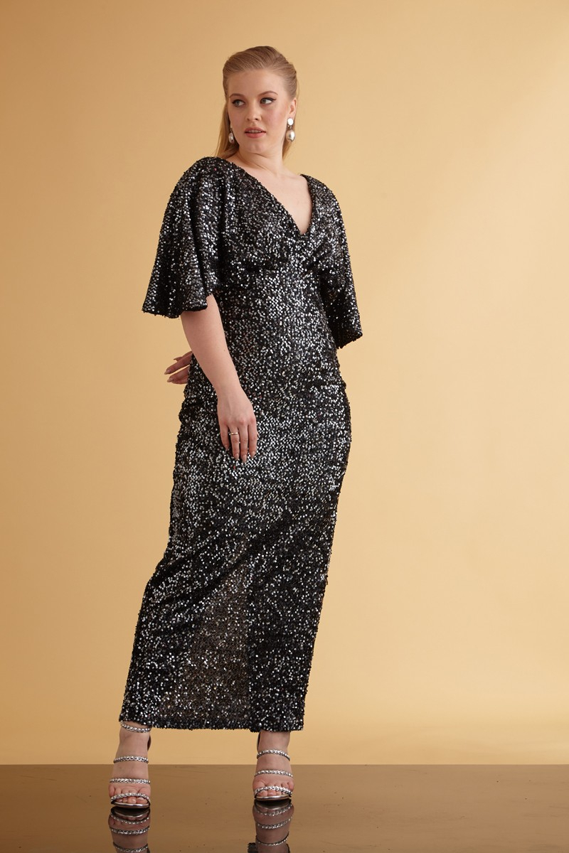 Wholesale Silver sequin plus size sequined short sleeve maxi dress ...