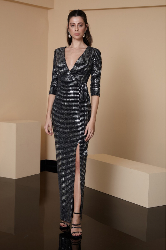 Mirrored silver sequined short sleeve maxi dress