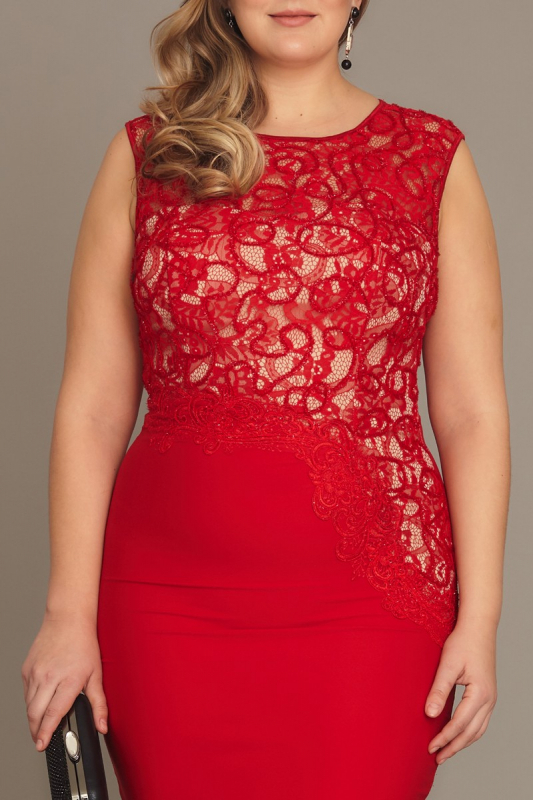 Red plus size crepe sleeveless mini dress