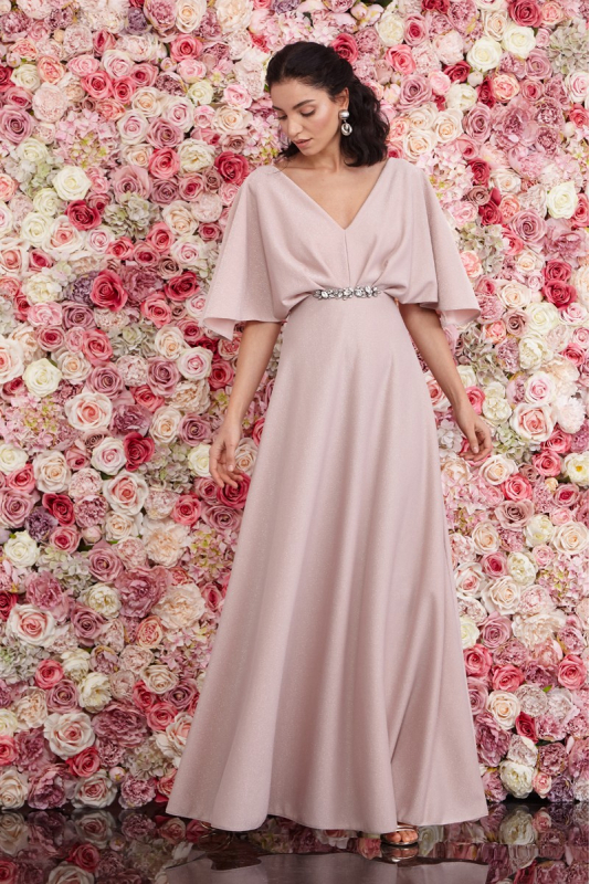 Powder knitted short sleeve maxi dress