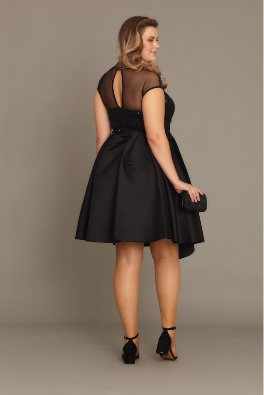Black plus size satin sleeveless mini dress