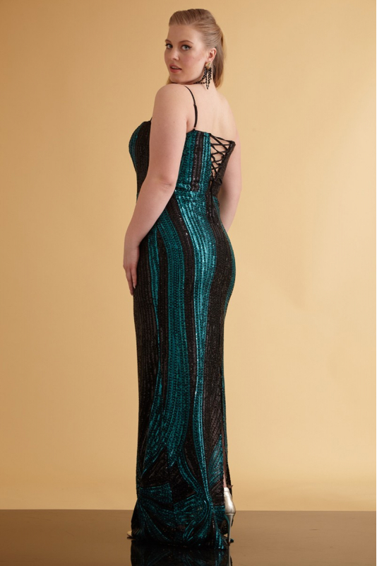 Green plus size sequined sleeveless maxi dress