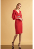 Red knitted short sleeve midi dress