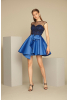 Sax satin sleeveless mini dress