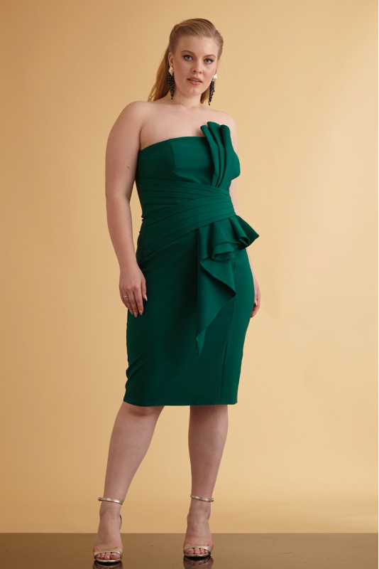 Wholesale Dark green plus size crepe strapless mini dress - Fervente