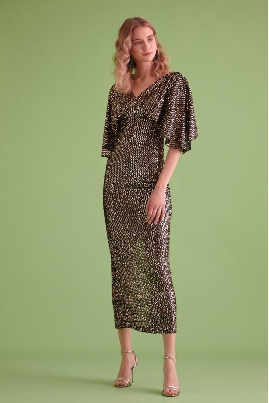 Gold sequin sequined short sleeve maxi dress