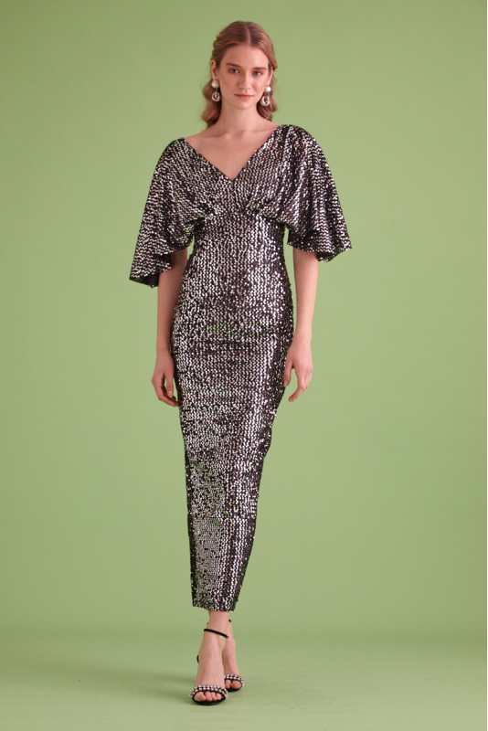 Silver sequin sequined short sleeve maxi dress