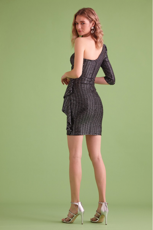Mirrored silver sequined mini dress