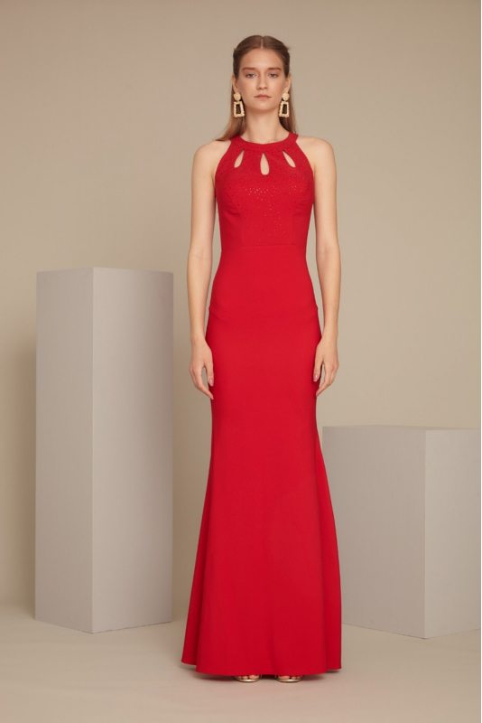 Red crepe sleeveless maxi dress