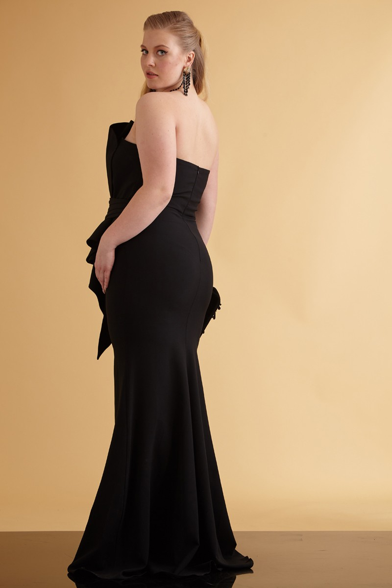 Black plus size crepe strapless maxi dress