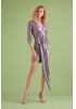 Silver sequined long sleeve mini dress