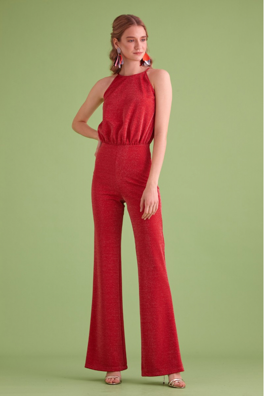 Red knitted sleeveless maxi overall