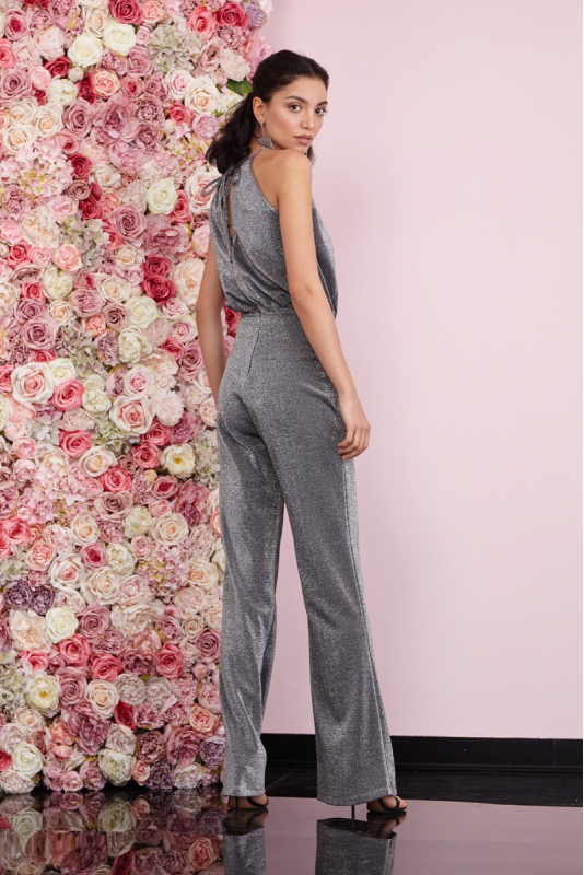 Silver knitted sleeveless maxi overall