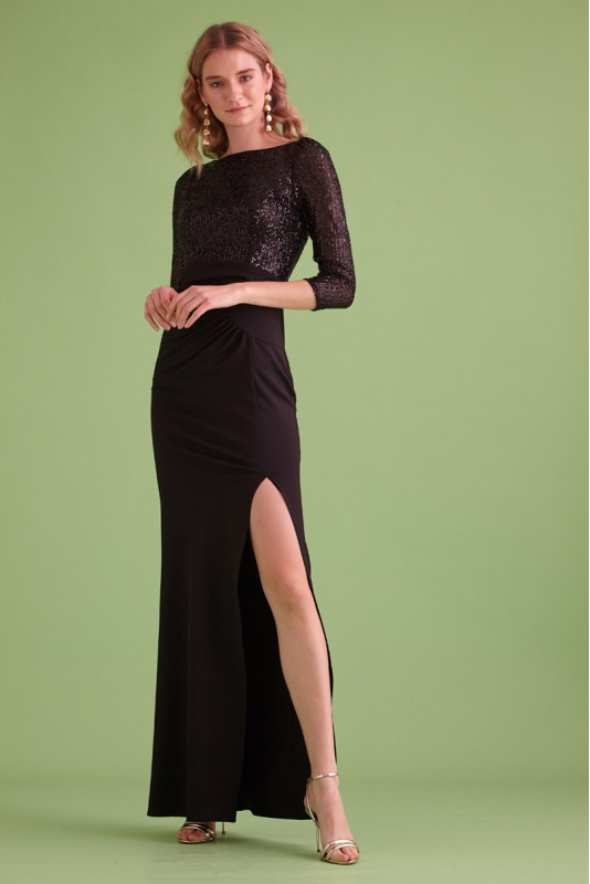 Black sequined 3/4 sleeve maxi dress