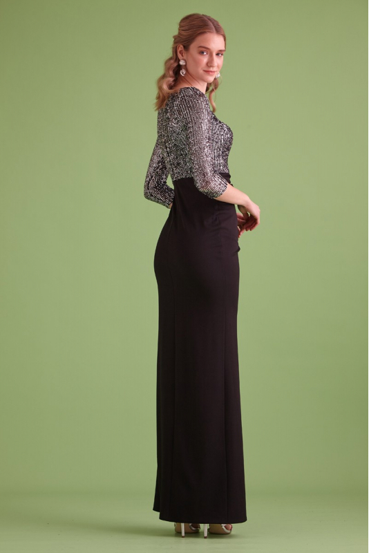 Silver sequined 3/4 sleeve maxi dress