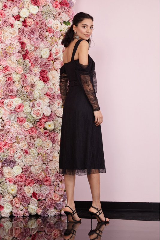 Black lace short sleeve midi dress