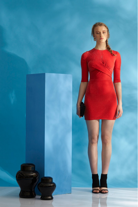 Red knitted 3/4 sleeve mini dress