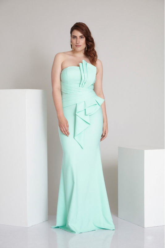 Water green plus size crepe strapless maxi dress