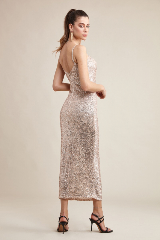 Copper sequined sleeveless midi dress
